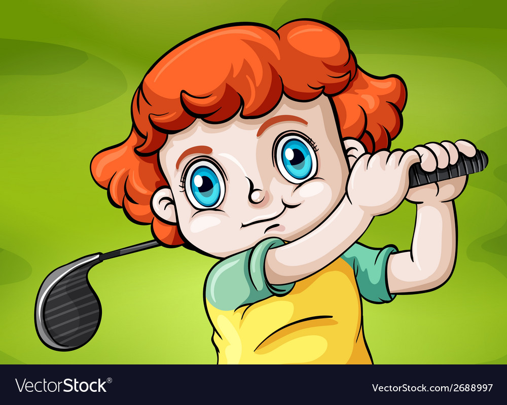 A young child playing golf vector | Price: 3 Credit (USD $3)