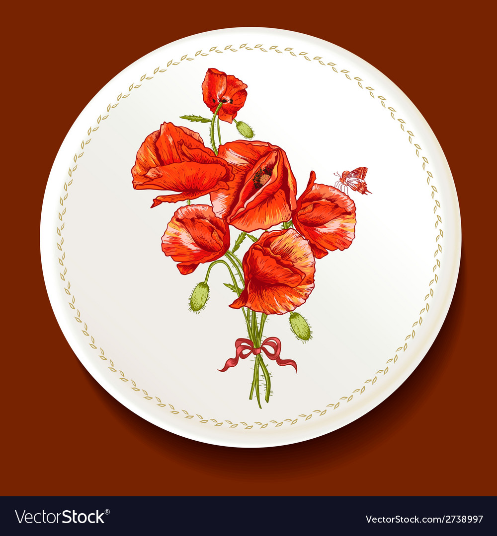 Beautiful bouquet of red poppy on a white plate vector | Price: 1 Credit (USD $1)
