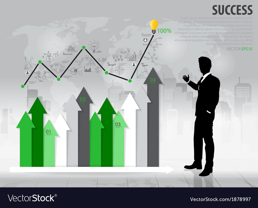 Businessman showing growth chart vector | Price: 1 Credit (USD $1)
