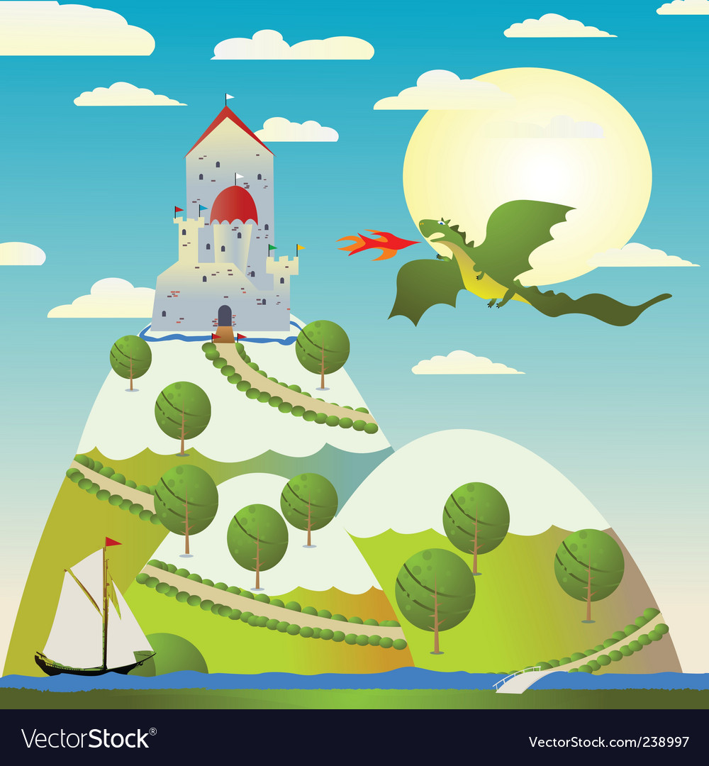 Castle and dragon vector | Price: 1 Credit (USD $1)