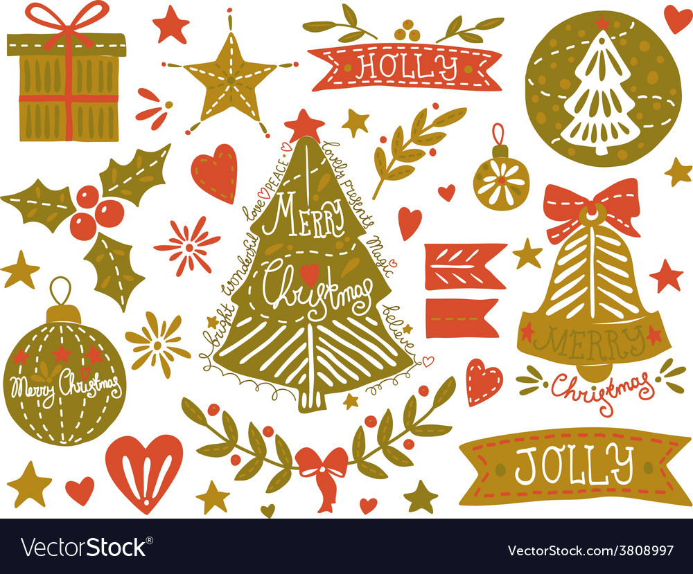 Christmas sketchy set vector | Price: 1 Credit (USD $1)