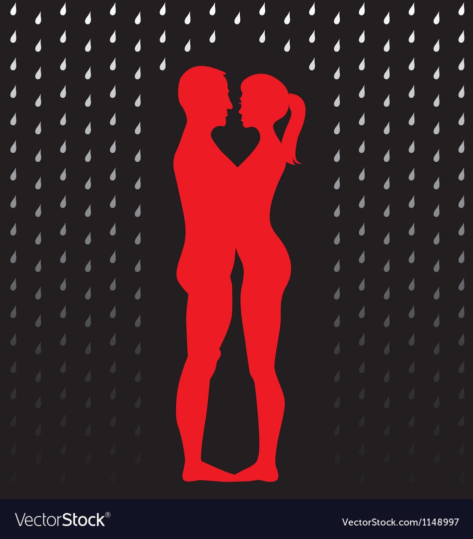 Couple under umbrella vector | Price: 1 Credit (USD $1)