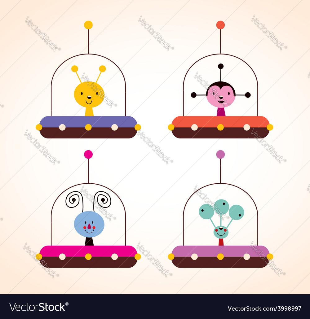 Cute aliens in spaceships kids design elements set vector | Price: 1 Credit (USD $1)