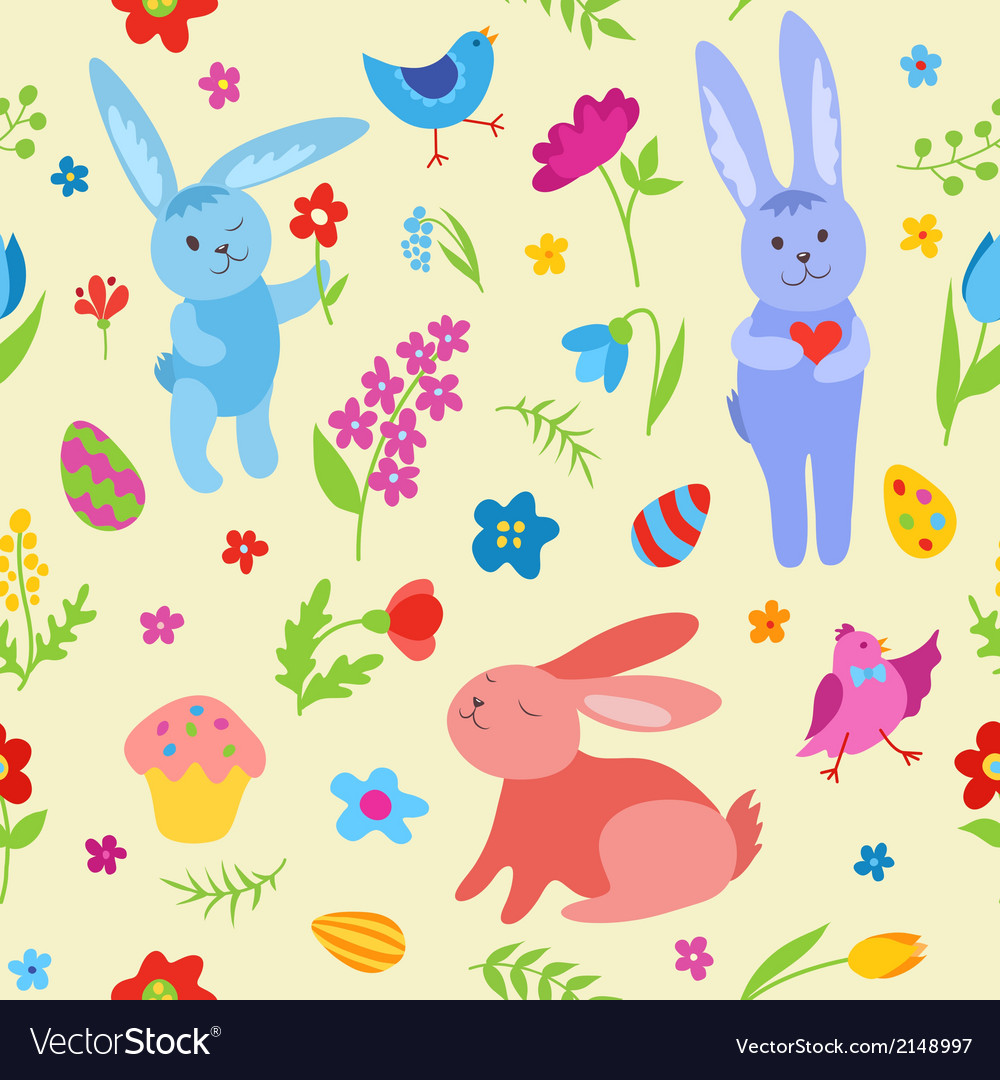Cute easter rabbits seamless pattern vector | Price: 1 Credit (USD $1)