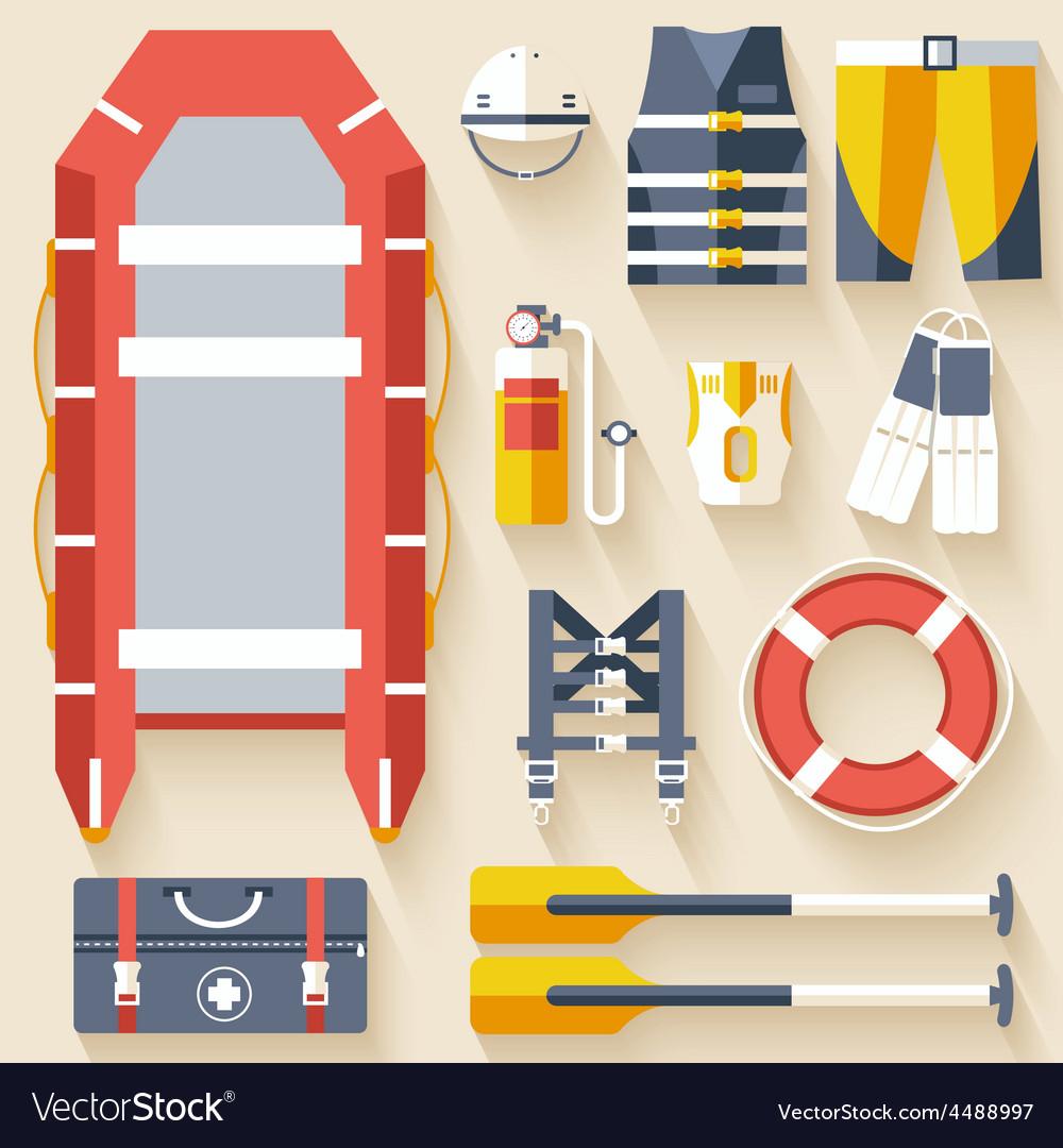 Emergency service paramedic lifeguard equipment vector | Price: 1 Credit (USD $1)