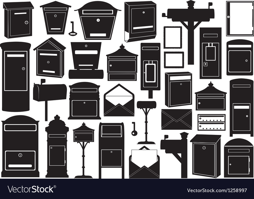Set of different mailboxes vector | Price: 1 Credit (USD $1)