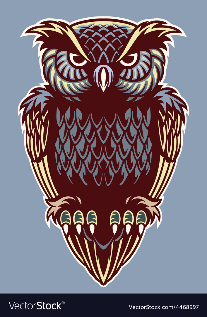 Vintage color style of owl bird vector | Price: 3 Credit (USD $3)
