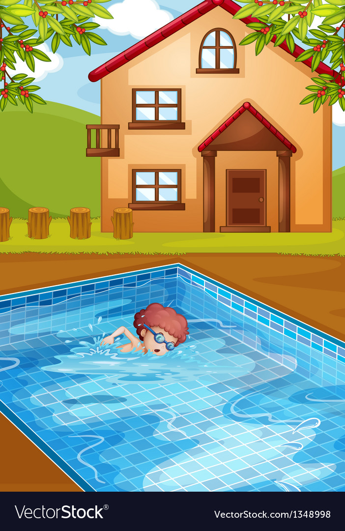 A boy swimming at the pool in his backyard vector | Price: 1 Credit (USD $1)