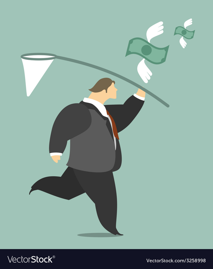 Businessman catching a butterfly net money vector | Price: 1 Credit (USD $1)