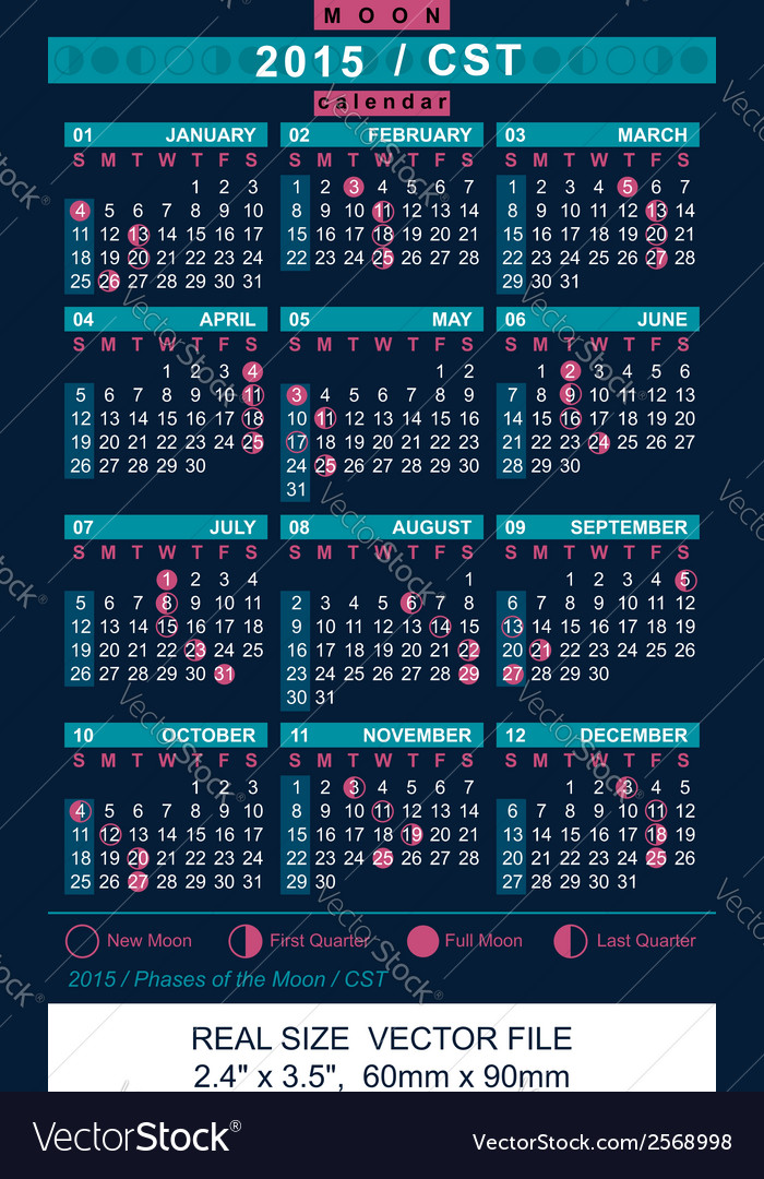 Calendar 2015 with phases of the moon cst vector | Price: 1 Credit (USD $1)
