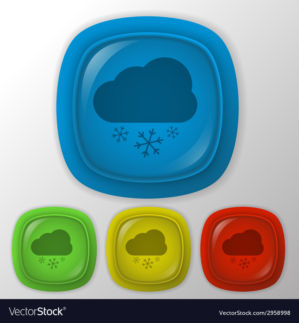 Cloud snow the weather icon vector | Price: 1 Credit (USD $1)