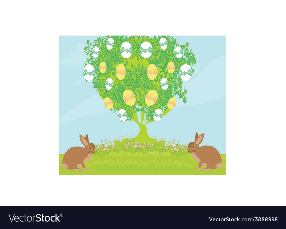 Easter card with rabbits and tree vector | Price: 1 Credit (USD $1)