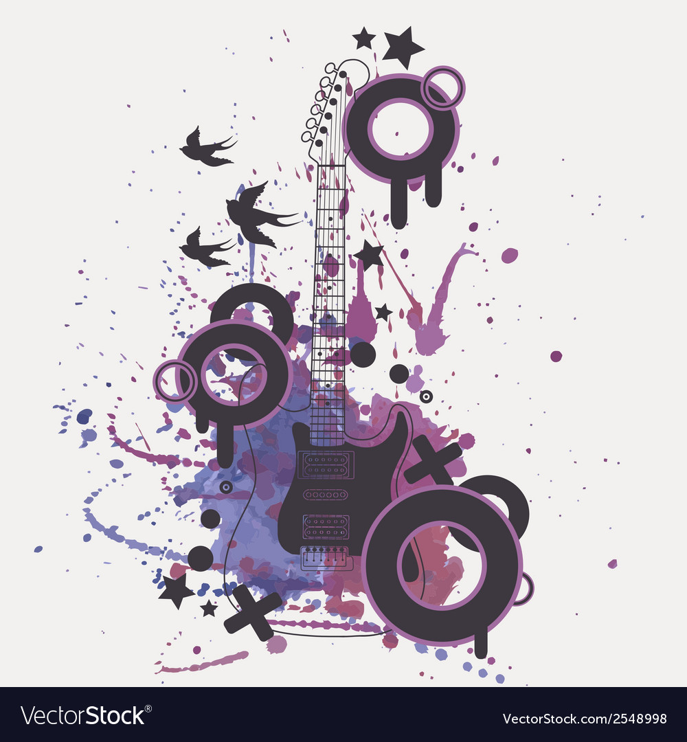 Electric guitar with watercolor splash b vector | Price: 1 Credit (USD $1)