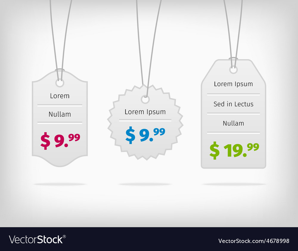Hanging steel pricing tags with colorful prices vector | Price: 1 Credit (USD $1)