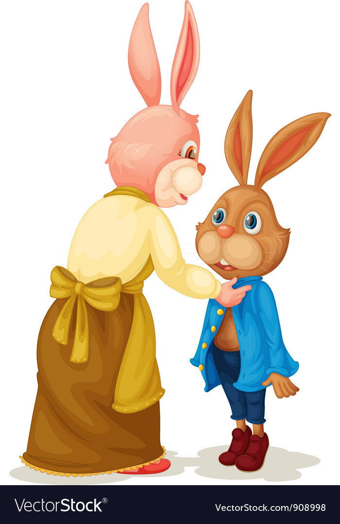 Mother and son rabbit vector | Price: 3 Credit (USD $3)