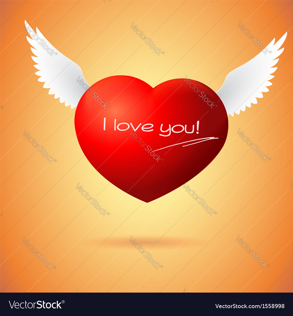 Soaring red heart with wings vector | Price: 1 Credit (USD $1)