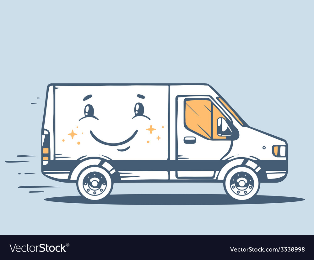 Van free and fast delivering smile to cus vector | Price: 1 Credit (USD $1)