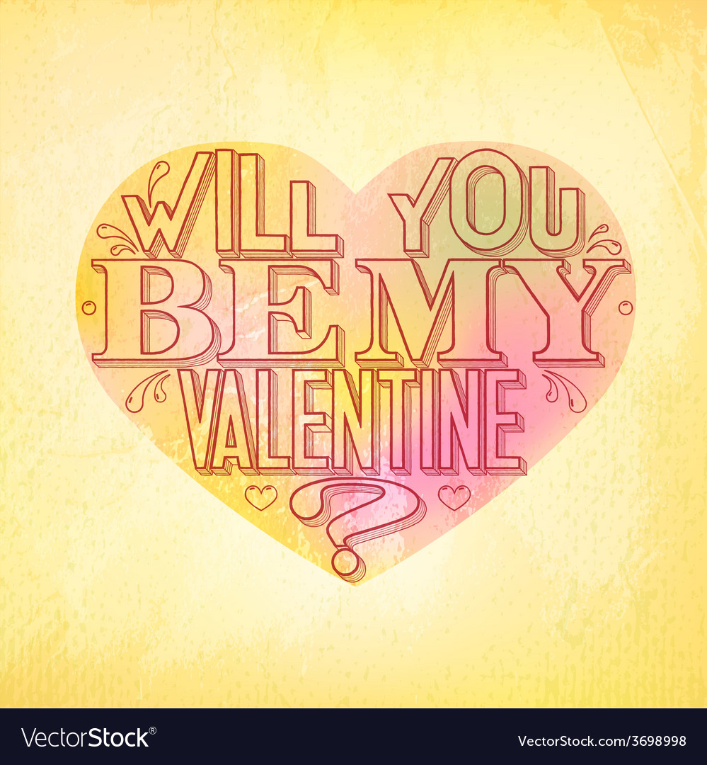 Will you be my valentine greeting card vector | Price: 1 Credit (USD $1)