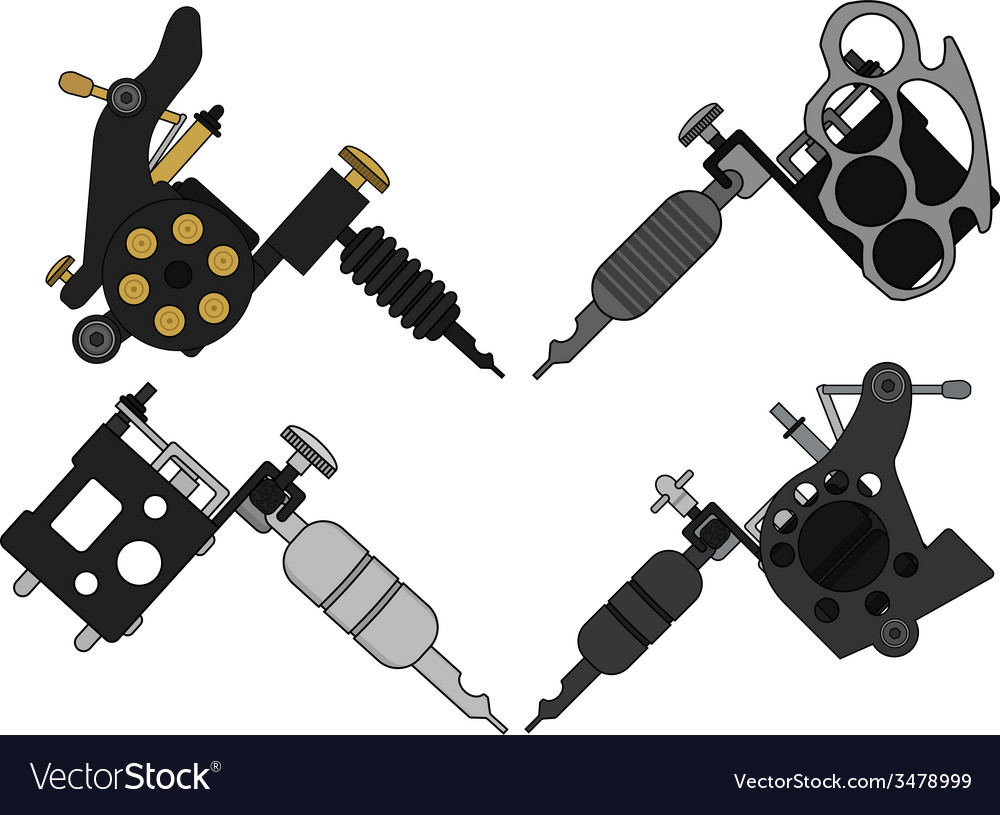 4 tattoo machines set vector | Price: 1 Credit (USD $1)