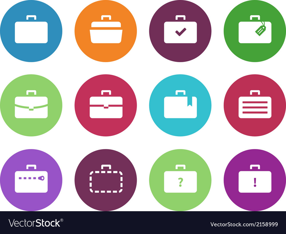 Case circle icons traveling bags and luggage vector | Price: 1 Credit (USD $1)