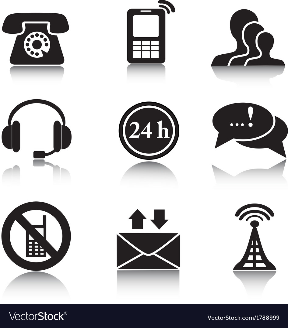 Contact black icons set vector | Price: 1 Credit (USD $1)