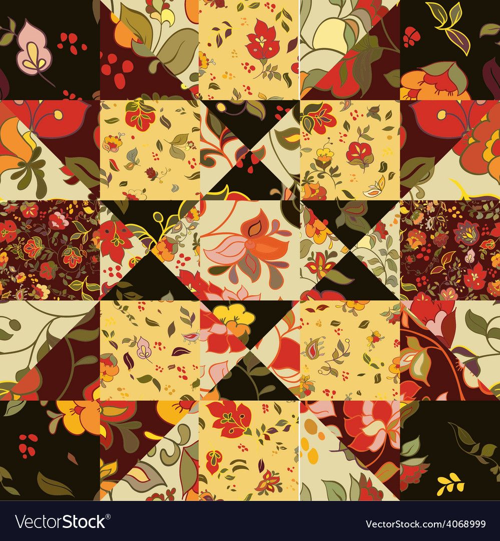 Creative seamless patchwork pattern with flowers vector | Price: 1 Credit (USD $1)