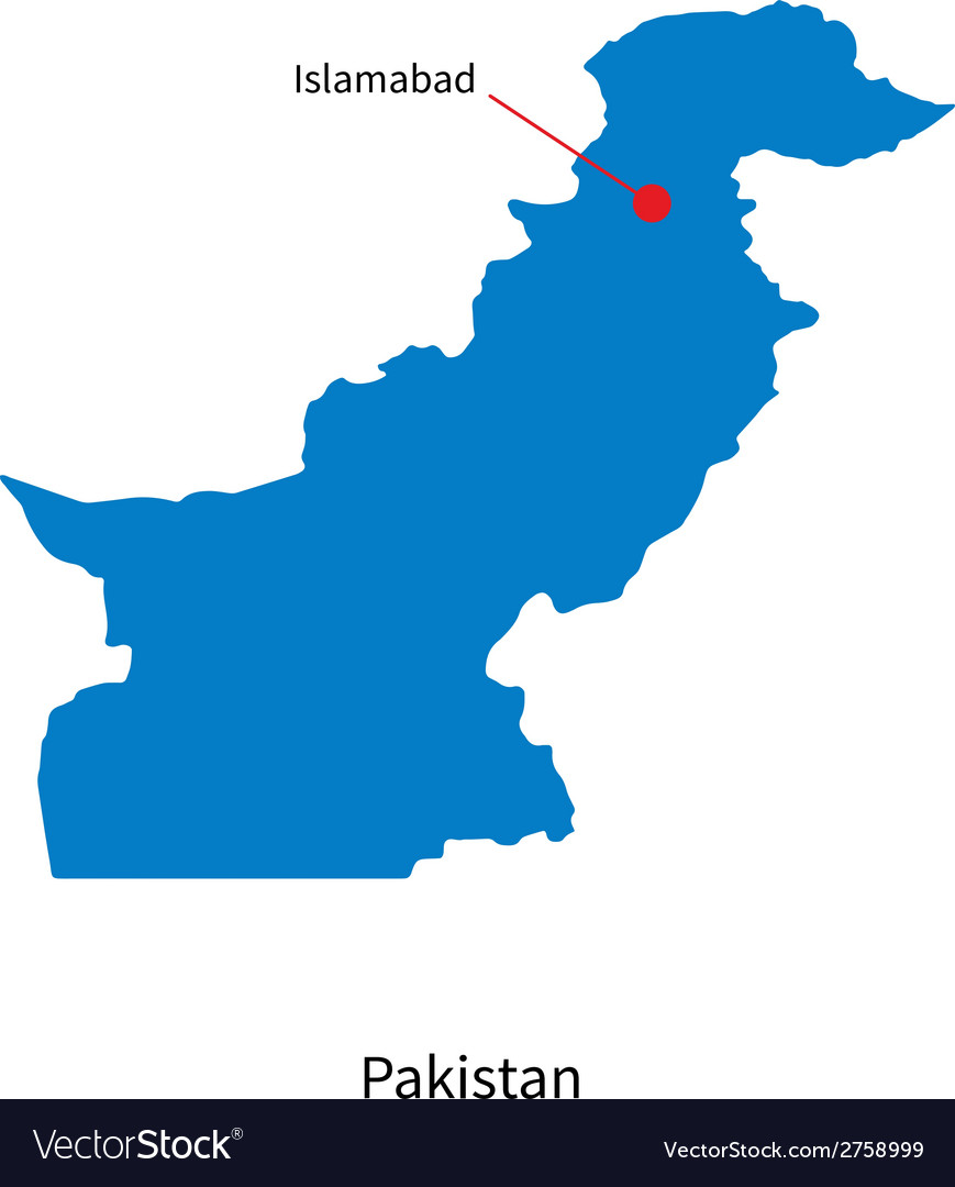 Detailed map of pakistan and capital city vector | Price: 1 Credit (USD $1)