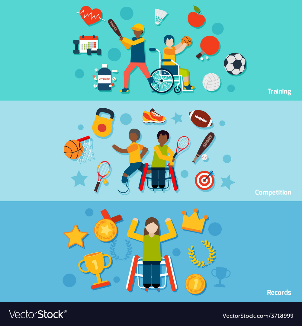 Disabled sports banners vector | Price: 1 Credit (USD $1)