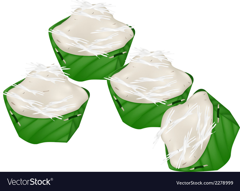 Empty krathong of coconut leaf on white background vector | Price: 1 Credit (USD $1)
