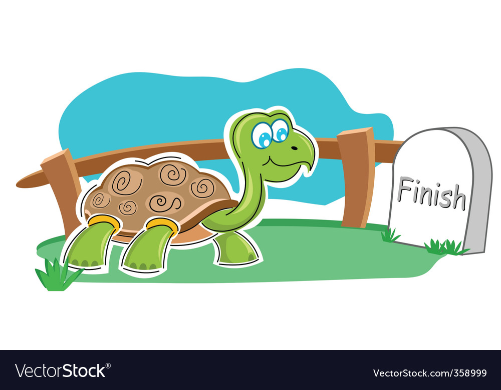 Happy tortoise with finish stone vector | Price: 1 Credit (USD $1)