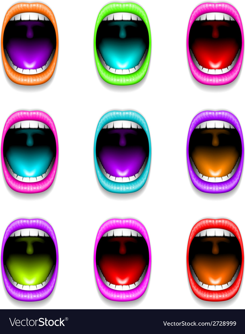 Mouth color open icon lips vector | Price: 1 Credit (USD $1)