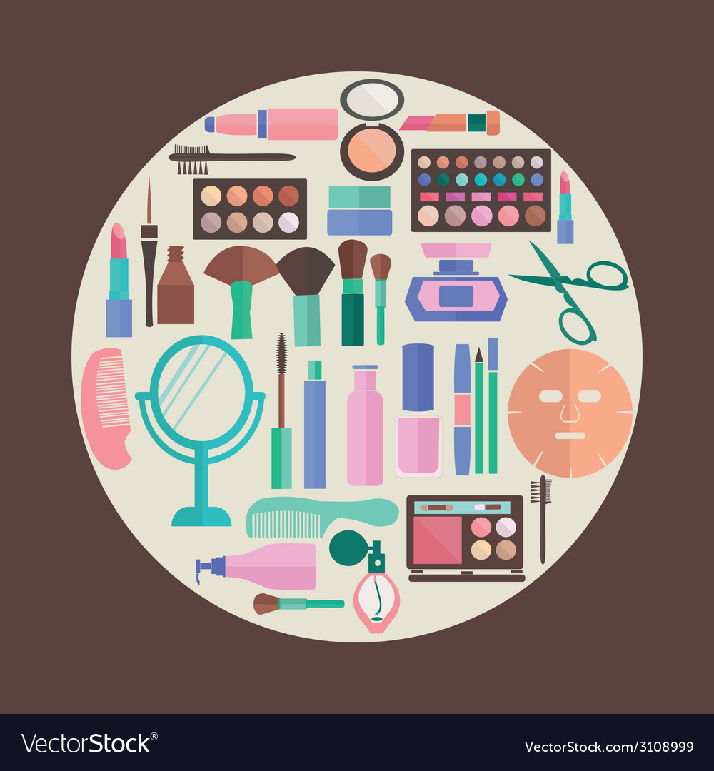Pattern makeup and beauty cosmetic symbols pattern vector