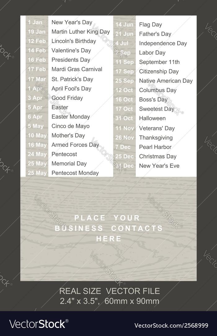 Pocket calendar with holidays list vector   Price: 1 Credit (USD $1)