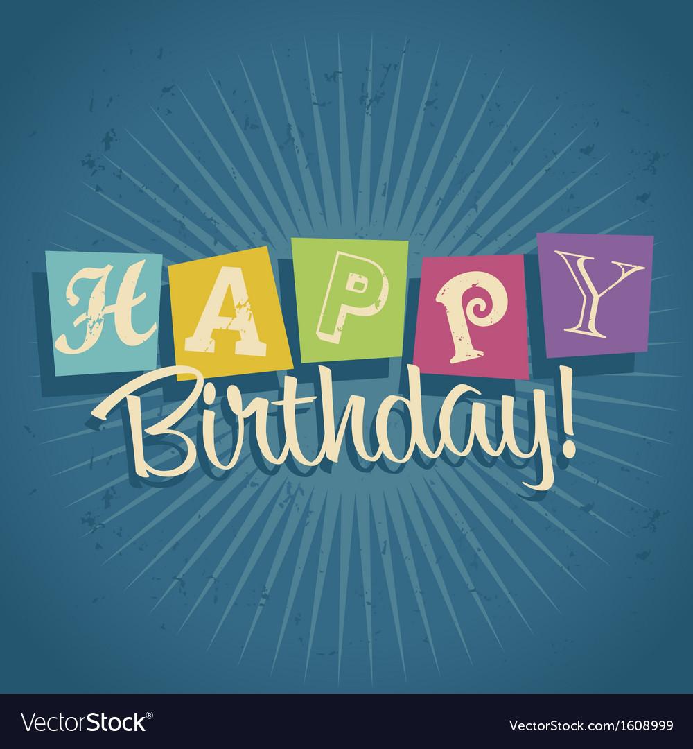 Retro happy birthday greeting card vector | Price: 1 Credit (USD $1)