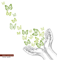 Drawing hands releasing butterfly vector