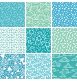 Nine baby boy blue seamless patterns backgrounds vector