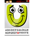 Funny letter u cartoon vector