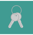 Door keys with ring flat design style vector