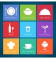 Bar and restaurant flat style icon set vector