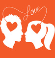 Profiles of man and woman connected by love wire vector