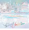 Christmas amsterdam canal vector