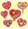 Hand draw ornate heart shape set vector