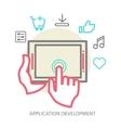 Mobile app development concept line vector