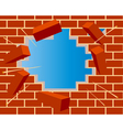 Broken brick wall with hole and sky vector