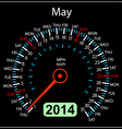 2014 year calendar speedometer car in may vector