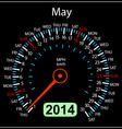 2014 year calendar speedometer car in may vector
