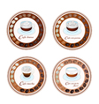 Four type of coffee beverage in retro round label vector