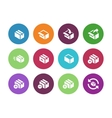 Box circle icons on white background vector