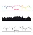 Bilbao skyline linear style with rainbow vector