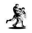 Rugby player tackle the ball vector